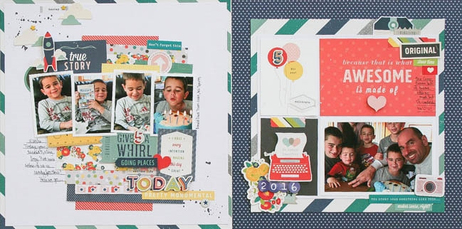 Use 3x4 cards on a 12x12 scrapbook page // page by Wendy Antenucci
