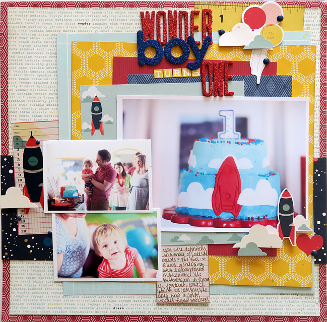 birthday scrapbook page by shimelle laine - with Glitter Girl video on scrapbooking with multiple photos