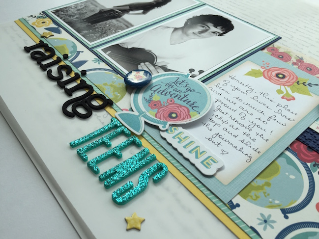 weekly challenge :: make your journaling the heart of your scrapbook page // scrapbook page by Mari Clarke
