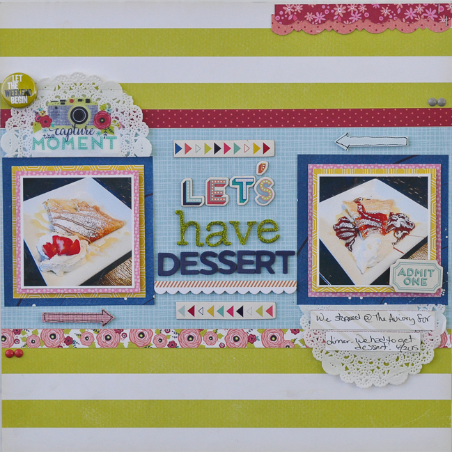 strong horizontal lines // scrapbook page by Katrina Hunt