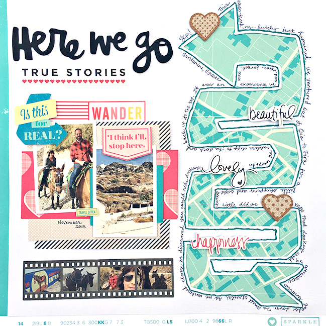 weekly challenge: scrapbook using arrows // scrapbook page by Heather Leopard