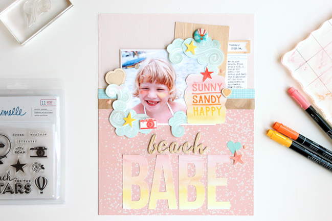 weekly challenge: stamp a frame // scrapbook page by Meghann Andrew