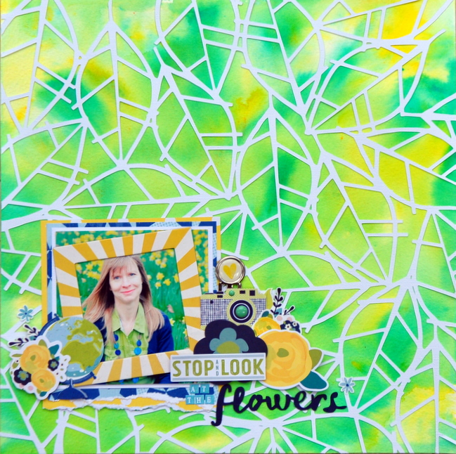 Go a bit messy with the background  // scrapbook page by Sheena Rowlands