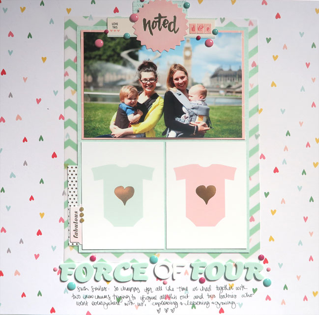 Use 3x4 cards on a 12x12 scrapbook page // page by Shimelle Laine
