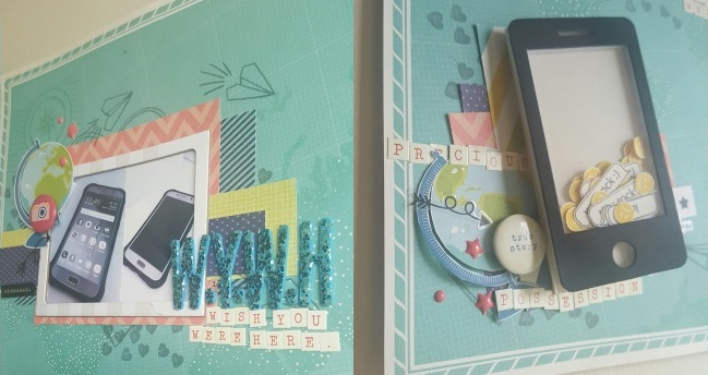 scrapbook with a folded journaling card // scrapbook page by Paula Brown