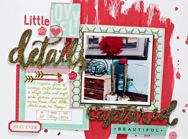 using watercolours on your scrapbook page // scrapbook page by Valerie Bishop