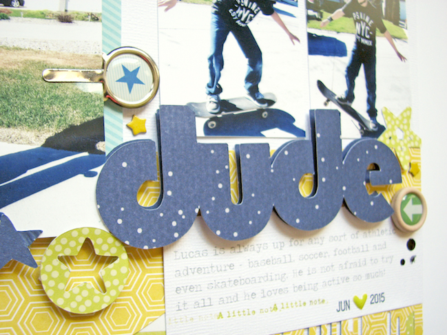 a style for scrapbooking sporty kids // scrapbook page by Nicole Nowosad