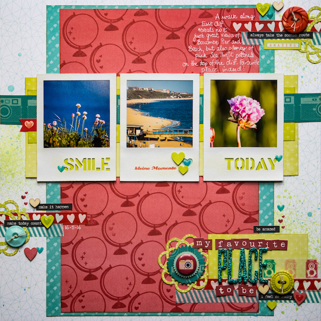 weekly challenge: scrapbook with Split Complementary Colours // scrapbook page by Daphne Wuenn Rihm