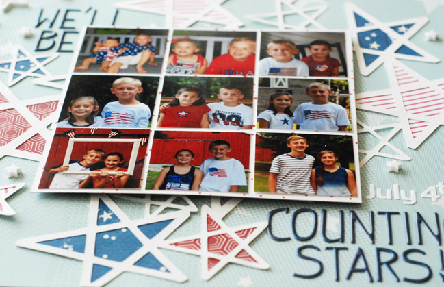 weekly challenge: go overboard with stars // scrapbook page by Sherry Coogan