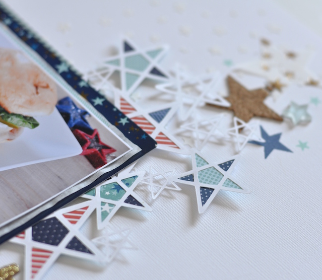 weekly challenge: go overboard with stars // scrapbook page by Leigh Ann Odynski