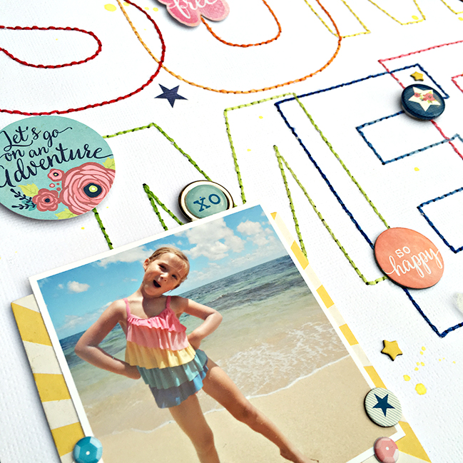 Using the Silhouette to stitch a scrapbook title // scrapbook page by Heather Leopard