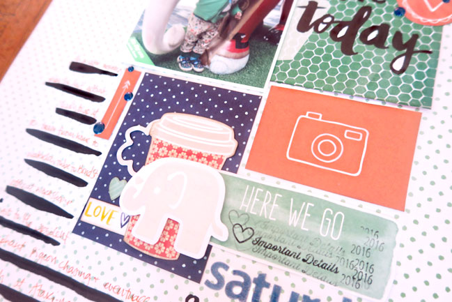 weekly challenge: take inspiration from planners // scrapbook page by shimelle laine