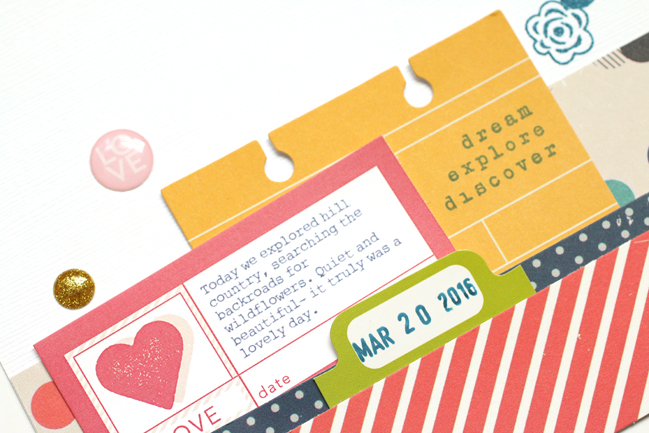 horizontal page composition // scrapbook page by Meghann Andrew
