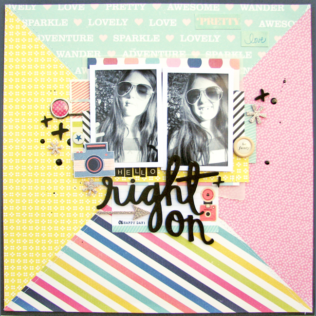 bold patterned papers in scrapbook page design // scrapbook page by Nicole Nowosad