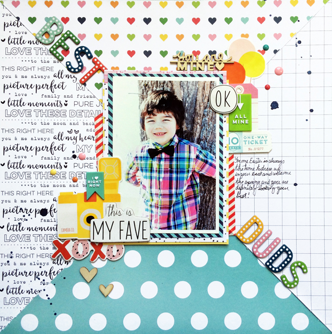 bold patterned papers in scrapbook page design // scrapbook page by Cathy Martin