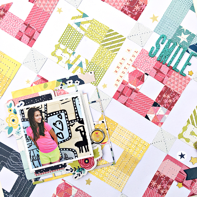 quilted composition with diagonal lines // scrapbook page by Heather Leopard