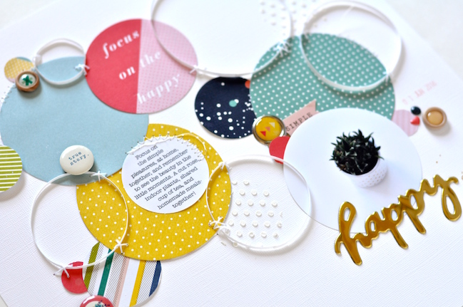 circles in scrapbook page design // scrapbook page by Leigh Ann Odynski