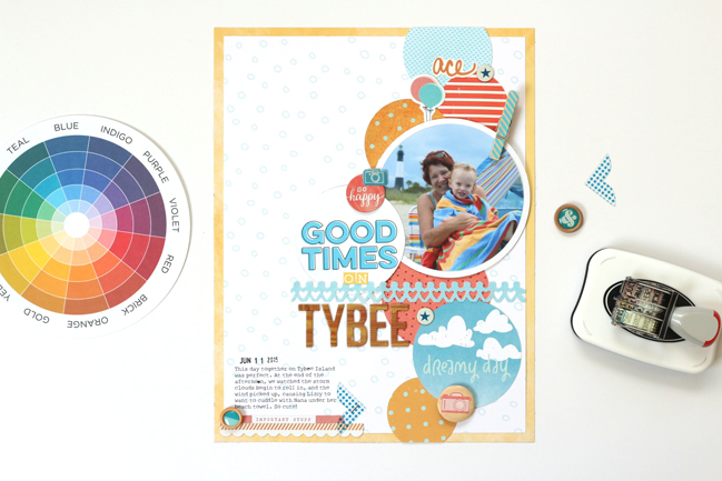 circles in scrapbook page design // scrapbook page by Meghann Andrew