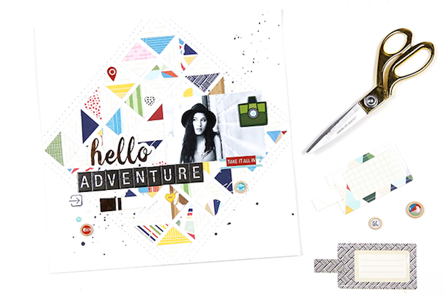 geometric scrapbook designs // scrapbook page by Gina Lideros