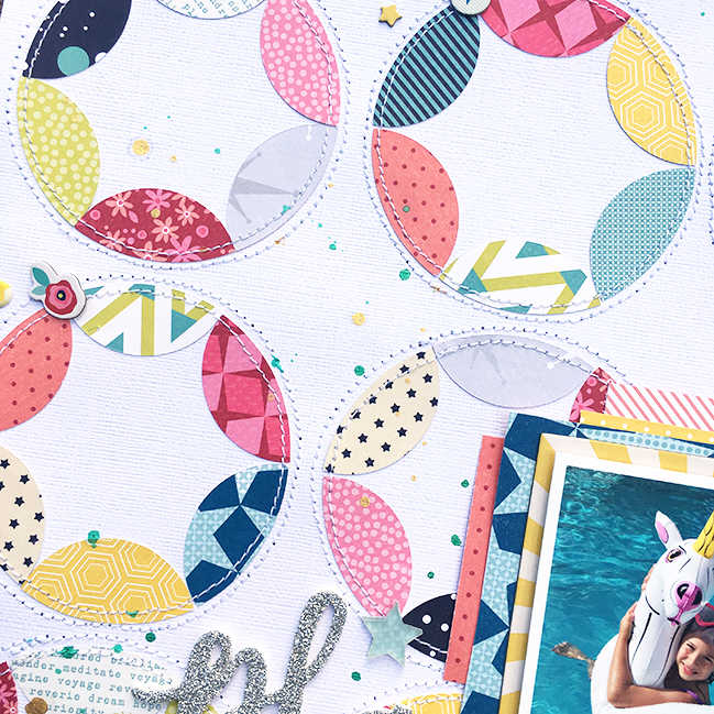 weekly challenge: stitch on your page // scrapbook page by Heather Leopard
