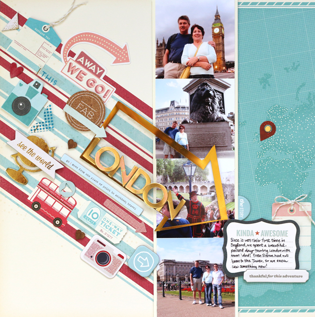 Using diagonal lines in scrapbook page design // scrapbook page by Meghann Andrew