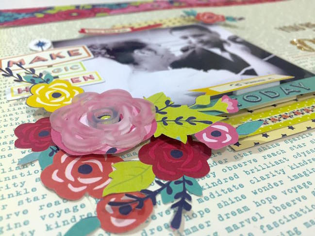 weekly challenge: use floral motifs // scrapbook page by Diana Rivera Torres