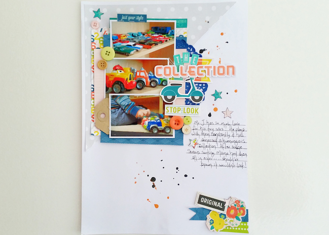 weekly challenge: use lots and lots of layers // scrapbook page by Laura Payne