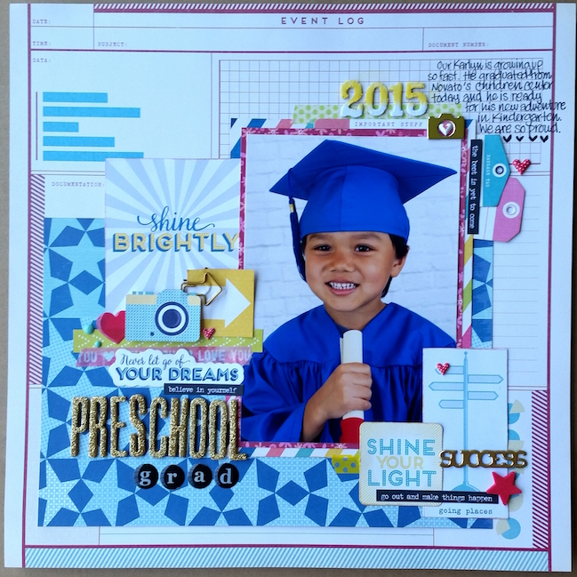 Back to School scrapbook ideas // scrapbook page by Jane Ratanapol