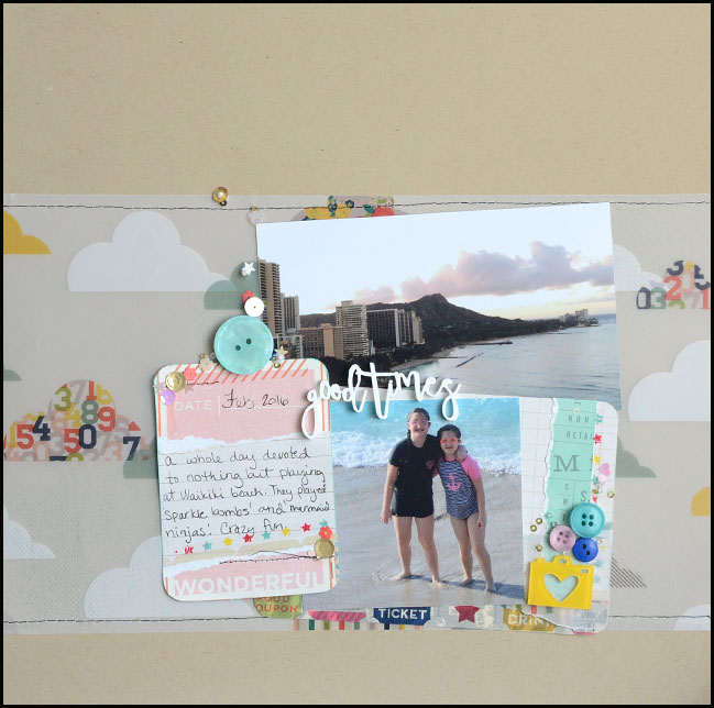 weekly challenge: use lots and lots of layers // scrapbook page by May Flaum