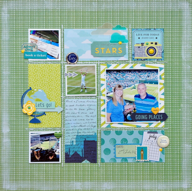weekly challenge: paint the edge of the page // scrapbook page by Sheena Rowlands