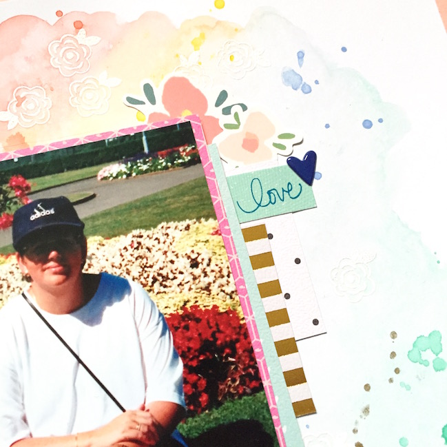 Stamping with Watercolours // scrapbook page by Emma Callagher