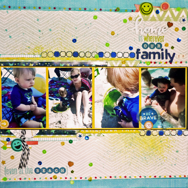 weekly challenge: challenge title here // scrapbook page by Sandy Lewis
