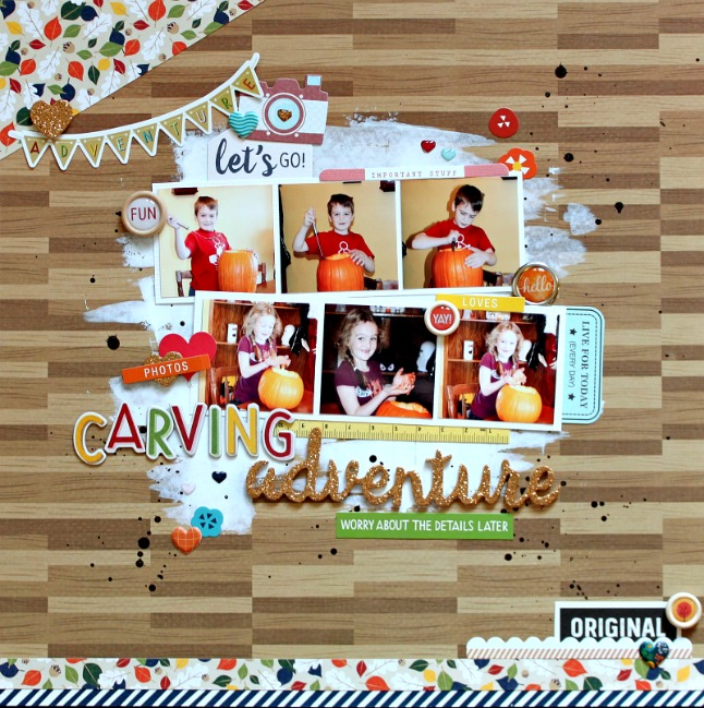 challenge: lots of little photos // scrapbook page by Michelle Gallant