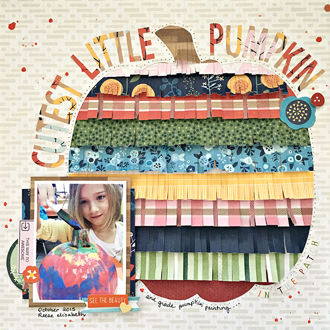 Patterned Paper Fringe and a free pumpkin cut file  // scrapbook page by Heather Leopard