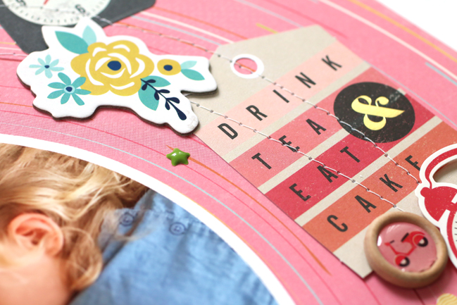scrapbooking with a mix of die-cuts and embellishments // scrapbook page by Meghann Andrew