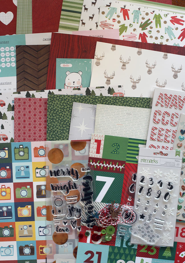 Christmas in a Box scrapbooking supply kit