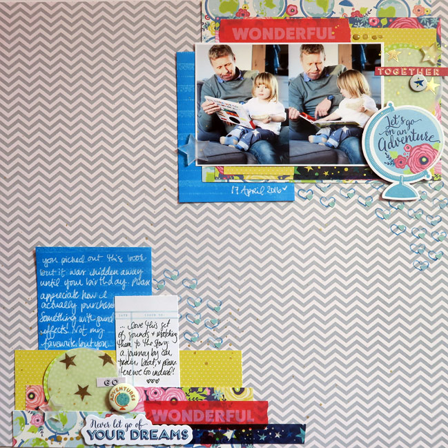 Glitter Girl Adventure 137: An Inky Experiment // Distress Ink scrapbook page by Shimelle Laine