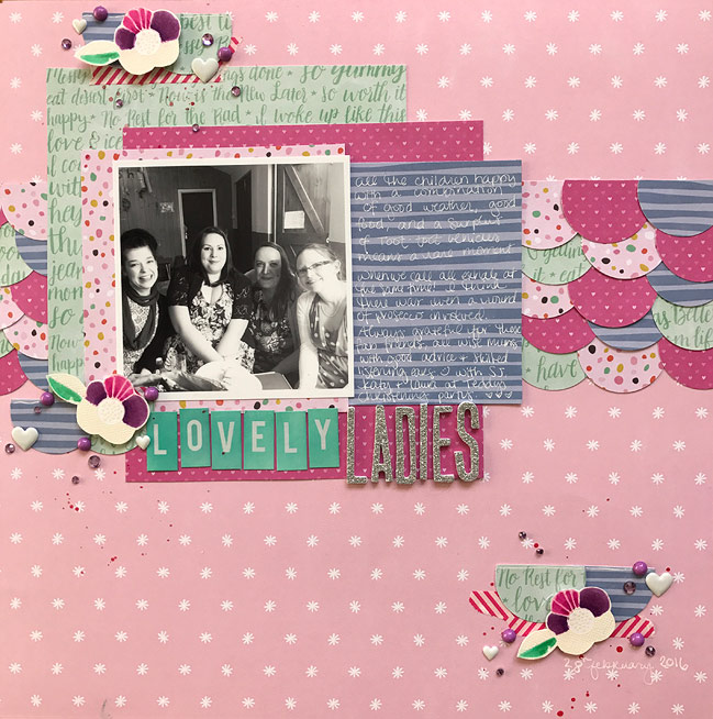 Scrapbooking with 6x6 Papers on 12x12 Pages - with Glitter Girl video - by Shimelle Laine