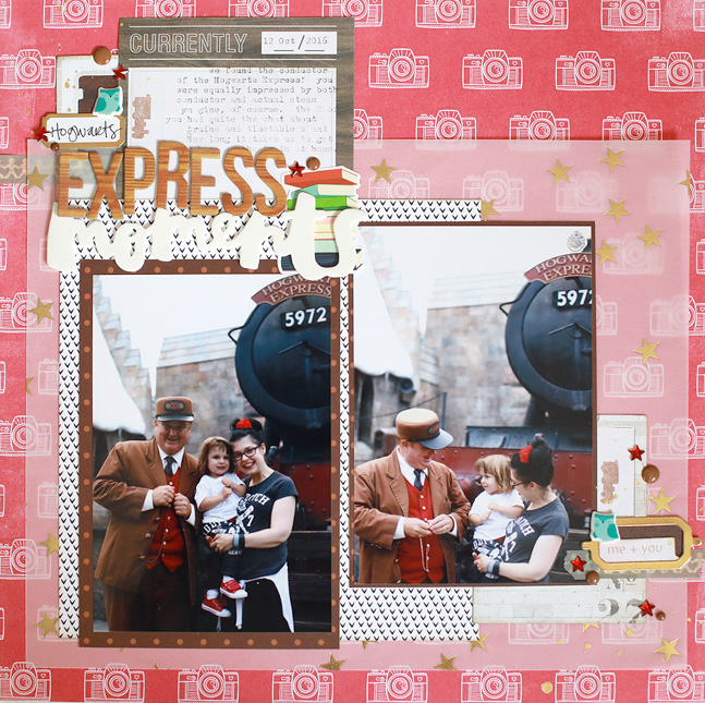 Harry Potter scrapbook page with process video // by Shimelle Laine