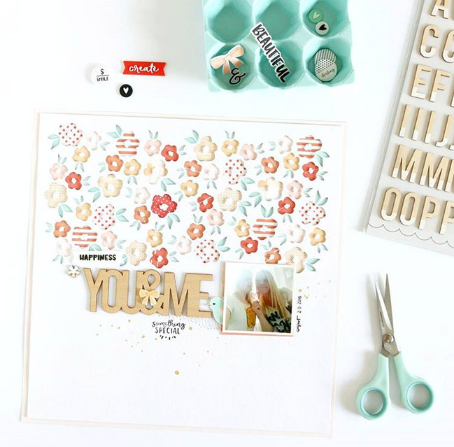 beautifully die cut scrapbook page by Evelyn La Fleur
