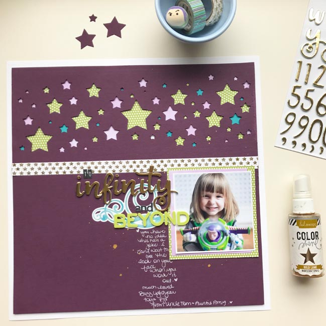 To Infinity and Beyond - Buzz Lightyear scrapbook page by Shimelle Laine