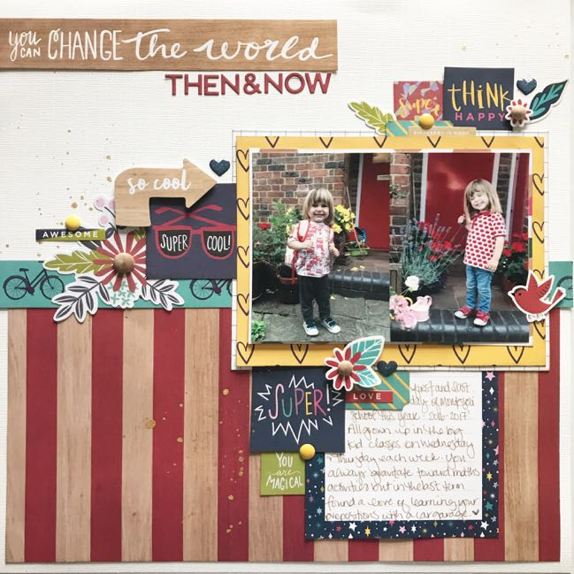 scrapbook page with the Glitter Girl paper collection from Shimelle and American Crafts