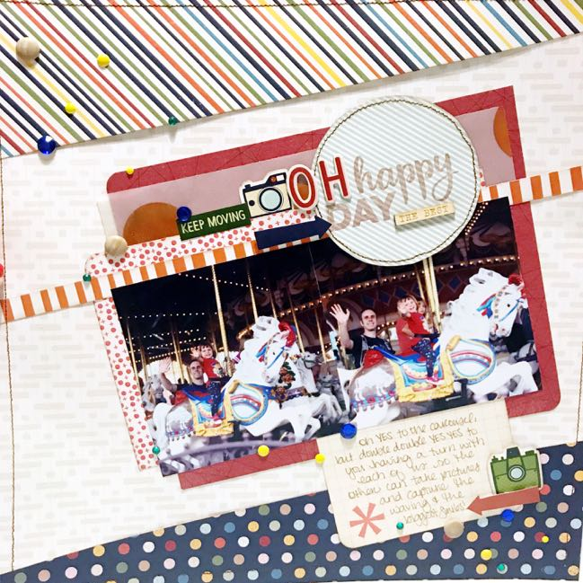 carousel scrapbook page by Shimelle Laine with PageMaps sketch