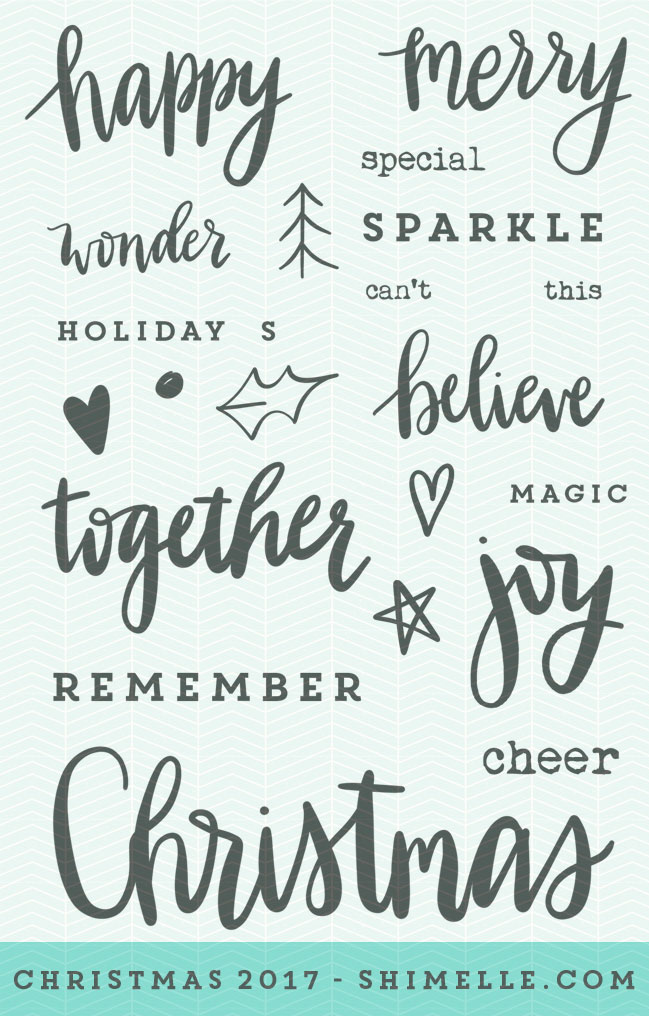 Christmas 2017: word stamps from Shimelle Laine