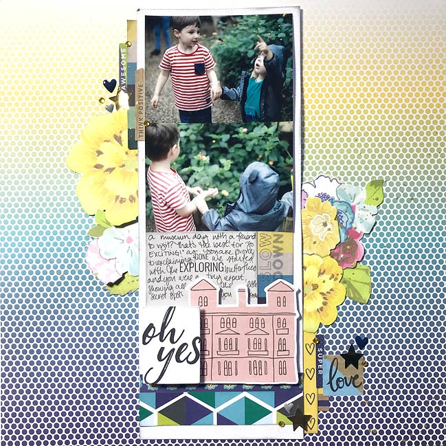 scrapbook page by Shimelle Laine - live process video in post
