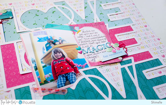 scrapbook page with the Bloom Street paper collection and Love Love Love cut file, both from Paige Evans