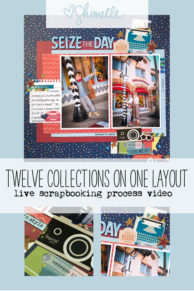 All 12 Shimelle American Crafts collections on a Single Scrapbook Page