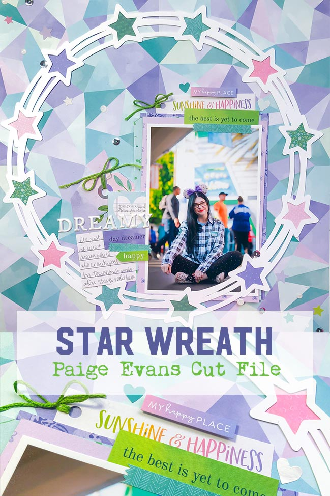 Scrapbook Page by Shimelle Laine featuring Paige Evans' Bloom Street collection and Star Wreath cut file