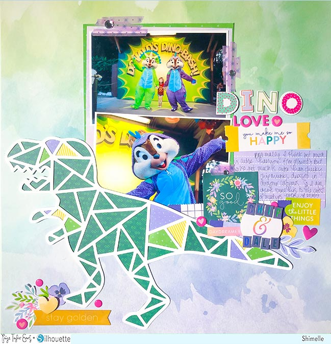 Dinosaur scrapbook page by Shimelle Laine with Paige Evans' Bloom Street and dinosaur cut file