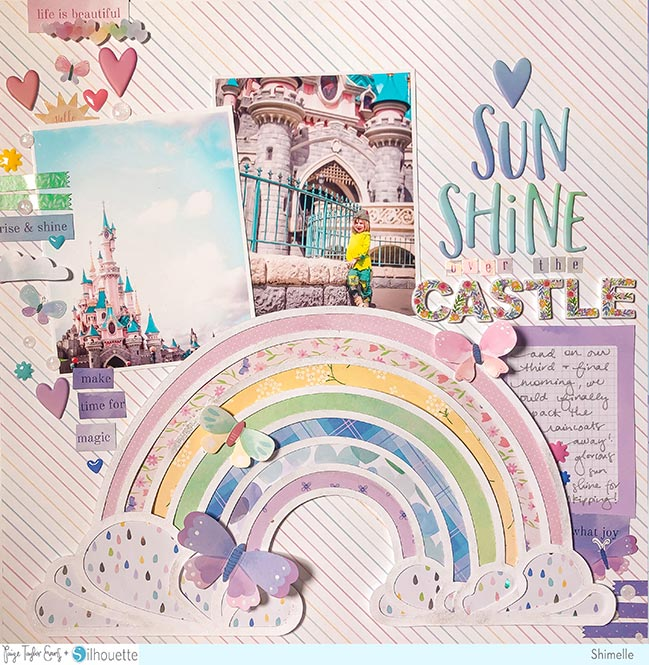 Scrapbook Page with Paige Evans Rainbow Cut File and process video by Shimelle